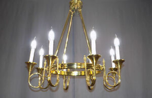 Baldwin Brass Chandelier Eight Branch Hunting Horns French Empire Style 27