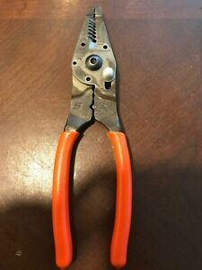 Snap On Tools Usa Pwcs9cf Pliers Orange Cutter Dykes Wire Snips Stripper Crimper