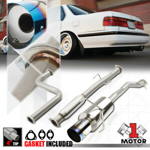 Ss Catback Exhaust System 4 Burnt Tip Muffler For 90 93 Honda Accord 2 2 F22a