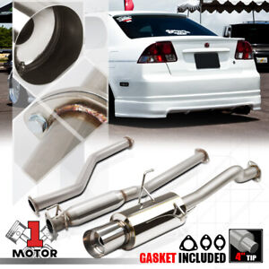 Stainless Steel Catback Exhaust System 4 Muffler Tip For 01 05 Honda Civic Ex