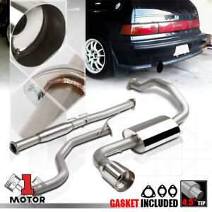 Stainless Steel Catback Exhaust 4 5 Muffler Tip For 88 91 Civic Hatchback 3dr Hb