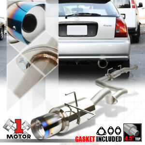 Ss Catback Exhaust System 4 5 burnt Tip Muffler For 96 00 Honda Civic Hb 3dr D16