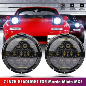 75w Drl Led Headlight H4 H13 W Amber Turn Signal For 1990 1997 Mazda Miata Mx5