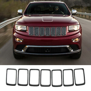 7pcs Black Front Grille Insert Decor Ring Trim For Jeep Grand Cherokee 2014 2016