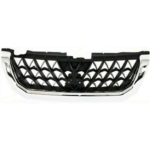 Grille For 2001 Mitsubishi Montero Sport Chrome Shell W Black Insert Plastic