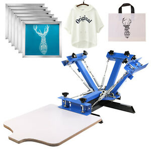4 Color Screen Printing Machine 6pcs 110 Mesh Aluminum Silk Screens Equipment
