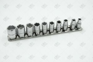 Sk Hand Tools 4910 10pc 1 4 Dr 6pt Standard Fractional Chrome Socket Set