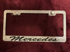Mercedes Benz Stainless License Plate Frame Made With Black Swarovski Crystals