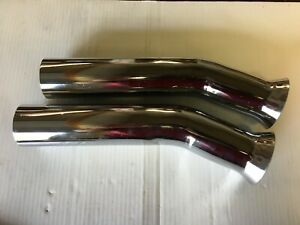 Patriot Chrome Exhaust Tips Curve Down Flare Tip 2 Pipe 12 Inches Long Pair