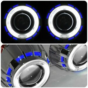 Retro Dual Halo Angel Eye Retrofit Projector Headlights Hid Kit Round Blue White