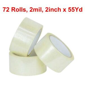 Packing Tape 72 Rolls 2 X 55 Yards 165 Ft Box Carton Sealing Clear 2 Mil
