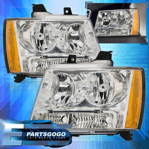 For 2007 2014 Chevy Suburban Tahoe Chrome Amber Reflector Headlights Lamps Set