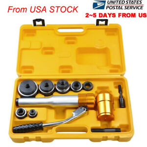 6 Dies 6 Ton Hydraulic Knockout Punch Driver Set Hand Pump Hole 11 gauge 2 5 Day