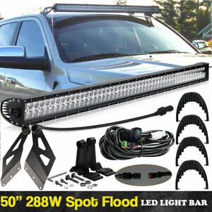 Led Light Bar 50 52 288w For 2002 09 Dodge Ram 3500 02 08 1500 2500 Crew Cab