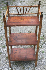 Bamboo Wood Shelf Vintage Accent Table Plant Stand Wooden Shelves Cane Display