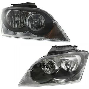 Headlights Headlamps Left Right Pair Set New For 04 06 Chrysler Pacifica