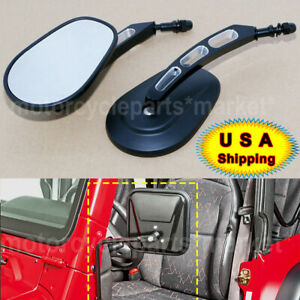 For Jeep Wrangler Tj Sahara Sport A Pair Black Door Hinge Mirrors Universal Us
