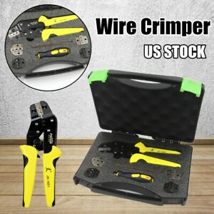 Us Wire Crimper Pliers Ratcheting Cable Connectors Terminal Crimping Tool Kit