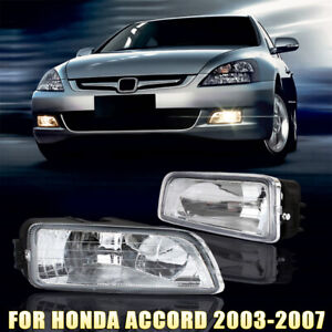 Pair Fog Lights Front Bumper Lamp Wiring Switch Kit For Honda Accord 2003 2007
