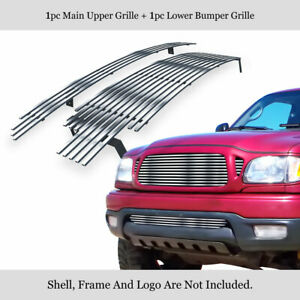 Fits 2001 2004 Toyota Tacoma Stainless Steel Chrome Billet Grille Insert Combo