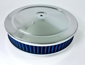 Chrome Air Cleaner 10 X 2 Chevy Mopar Ford Hot Rod Washable Filter Blue