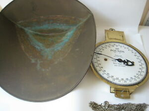 Vtg Brass 60 Lb Hanging Scale Antique Country Store Produce Farm Metal Patd 1912