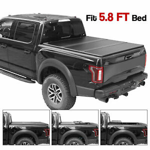 Fits 2014 2018 Chevy Silverado Gmc Sierra Solid Folding Tonneau Cover 5 8ft Bed