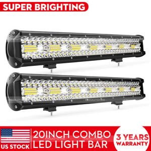 2x 22 Inch Cree Led Light Bar Tri Row Combo Work Fog Lamp Truck Suv Boat 24
