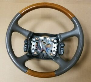 Nice Brown Tan 2002 02 Cadillac Escalade Steering Wheel Wood Grain Oem Factory