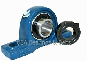 Ucp201 8 1 2 Inch Pillow Block Bearing And Double Split Shaft Collar Solid Foot