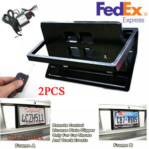 2pcs Hidden Electric License Car Plate Frame Flip Turn Over Usa Type W Remote