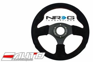 Nrg 320mm 12 6 Race Sport Suede Steering Wheel 1 5 Deep W Red Stitch