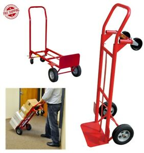 600 Lb Capacity 2 in 1 Convertible Hand Truck Dolly Trolley Moving Cart