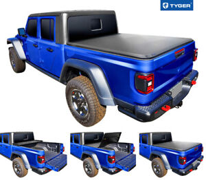Fits 2020 Jeep Gladiator Jt With Rail System Tyger T3 Tri Fold Tonneau Cover