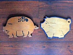 2 Small Antique Vintage Old Wooden Cute Pig Bread Cutting Boards Primitive