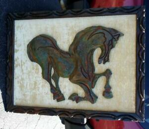 Old Vintage Mcm Mid Century Modern Modernist Witco Wall Art Carving Horse