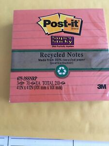 Post it Super Sticky Notes 4 X 4 Lined Pack Of 3