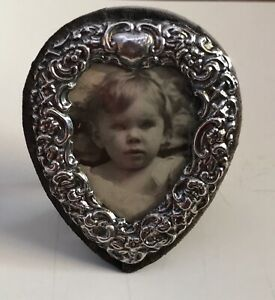 Photo Frame Sterling Silver Heart Shape Repousse Design London 1986