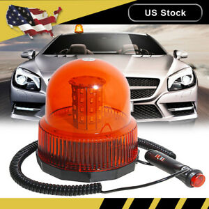 60 Led Amber Truck Rotating Rooftop Emergency Strobe Light Flash Warning Round