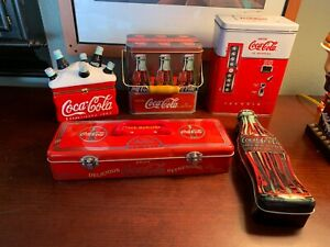Coca-Cola Collectibles Lot of 5 Items - Metal Tins And Ceramic Containers Bundle