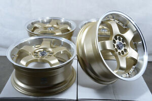 17x7 5 5x100 5x114 3 Gold Wheels Fits Civic Scion Tc Xb Wrx Elantra 5 Lug Rims