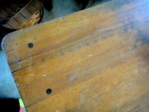 Antique Walnut Awesome Fold Up Sewing Table W Ruler On Top Surface