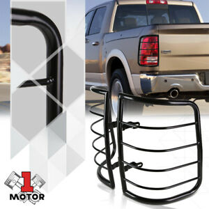 Black Stainless Steel Tail Light Lamp Guard Protector Cover For 09 18 Dodge Ram