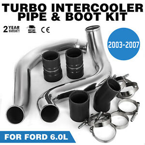 Turbo Intercooler Pipe Boot Kit Silver For Ford 03 07 6 0l Cac Tube Powerstroke
