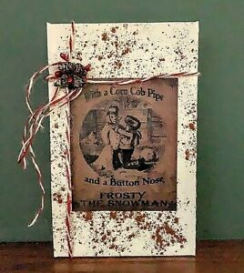 Handmade Grubby Primitive Vintage Label Snowman Package Holiday Christmas