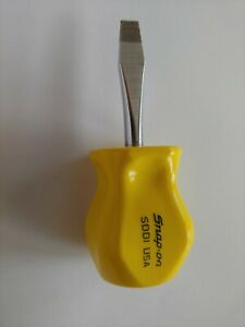 Mint Vintage Snap On Tools Sdd1 Yellow Hard Handle Stubby Screwdriver Very Rare