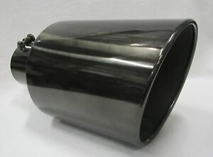 5 Inlet 8 Outlet 15 Long Black Chrome Diesel Exhaust Tip Chevy Duramax 6 6l