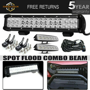 14 15inch Bumper Led Light Bar 4 Work Pods Wiring Kit Offroad Driving Lamp