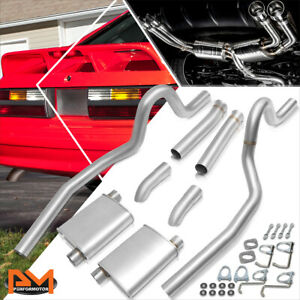 For 87 93 Ford Mustang 5 0l V8 2 5 od Dual Muffler S s Catback Exhaust System