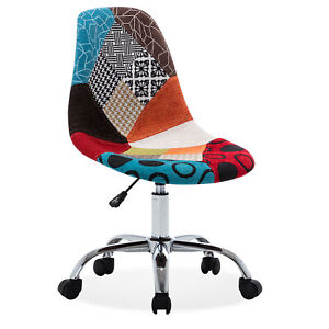 Armless Mid back Task Office Chair Linen Height Adjustable Swivel Multi Color